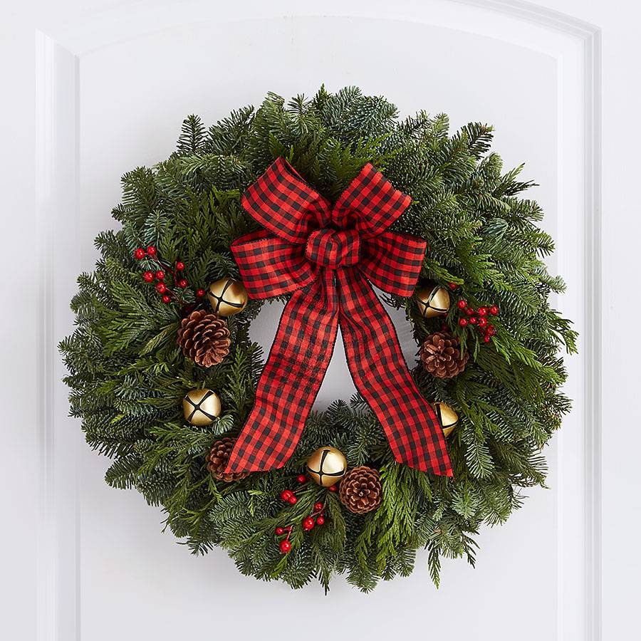 Rustic Jingle Bells Evergreen Christmas Wreath