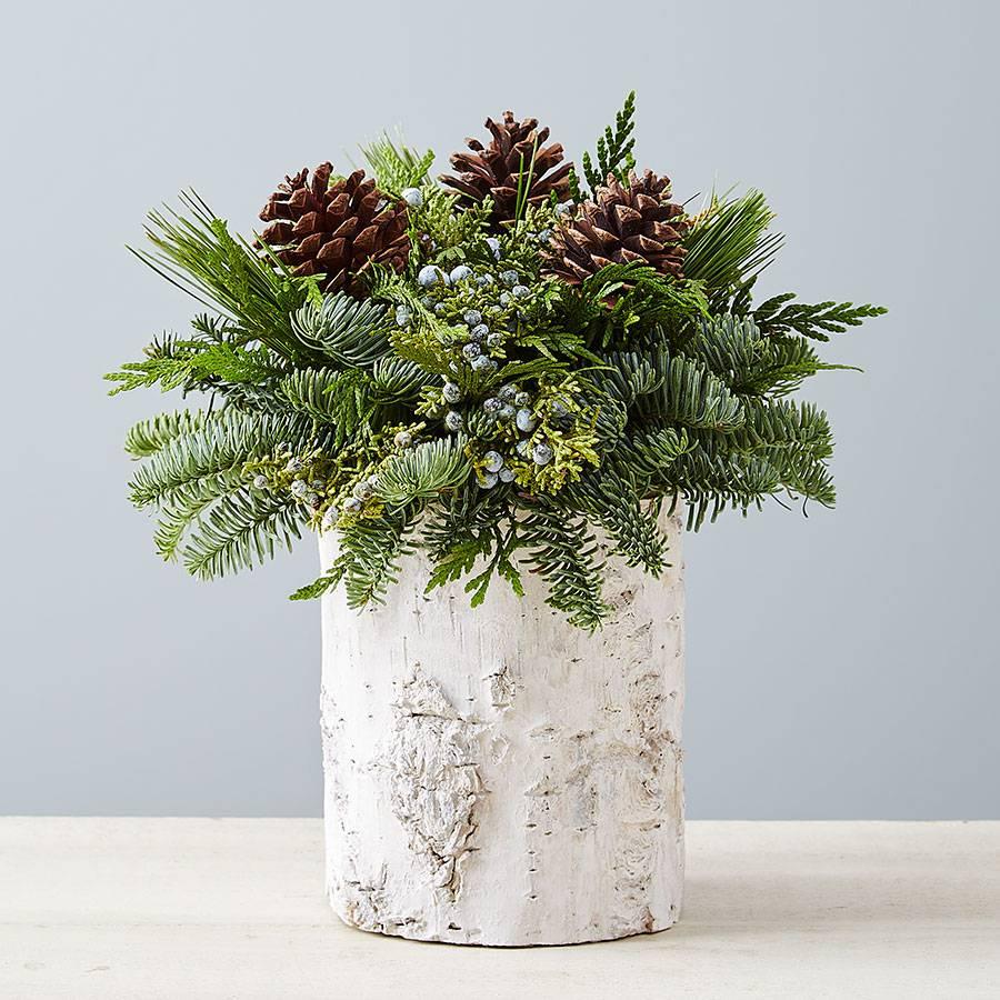 Winter Pinecone Birch Evergreen Christmas Centerpiece
